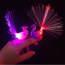 LED Peacock Finger Ring Party Peacock Led Fiber Bright  Lights Beam Torch Fun Flashing Event & Party Supplies peacock design