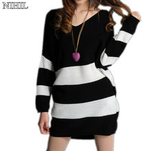 Long Striped Women Sweater Plus Size Loose V-Neck Crochet Pullovers 2017 Black Batwing Knitted Sweater Female Pull Outwear Tops
