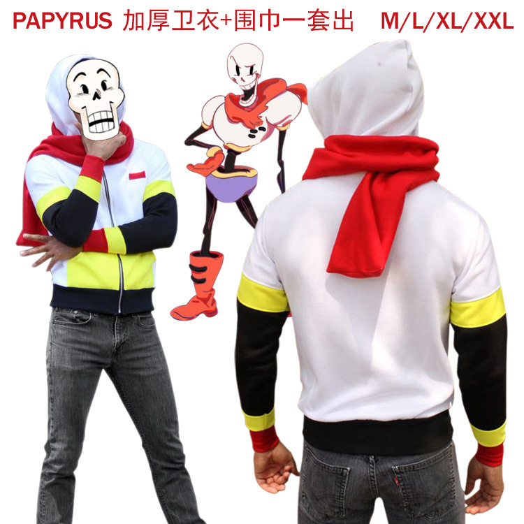 Hot game Undertale cosplay costume Undertale character Papyrus hoodies cosplay costume with red scraf gift for game fans