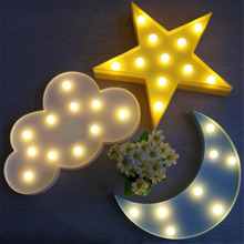 1pc 3D Cloud Star Moon Pattern Night Lights LED Party Props Decorative Light Kids Room Bedroom Desktop Wedding Party Decor Gifts