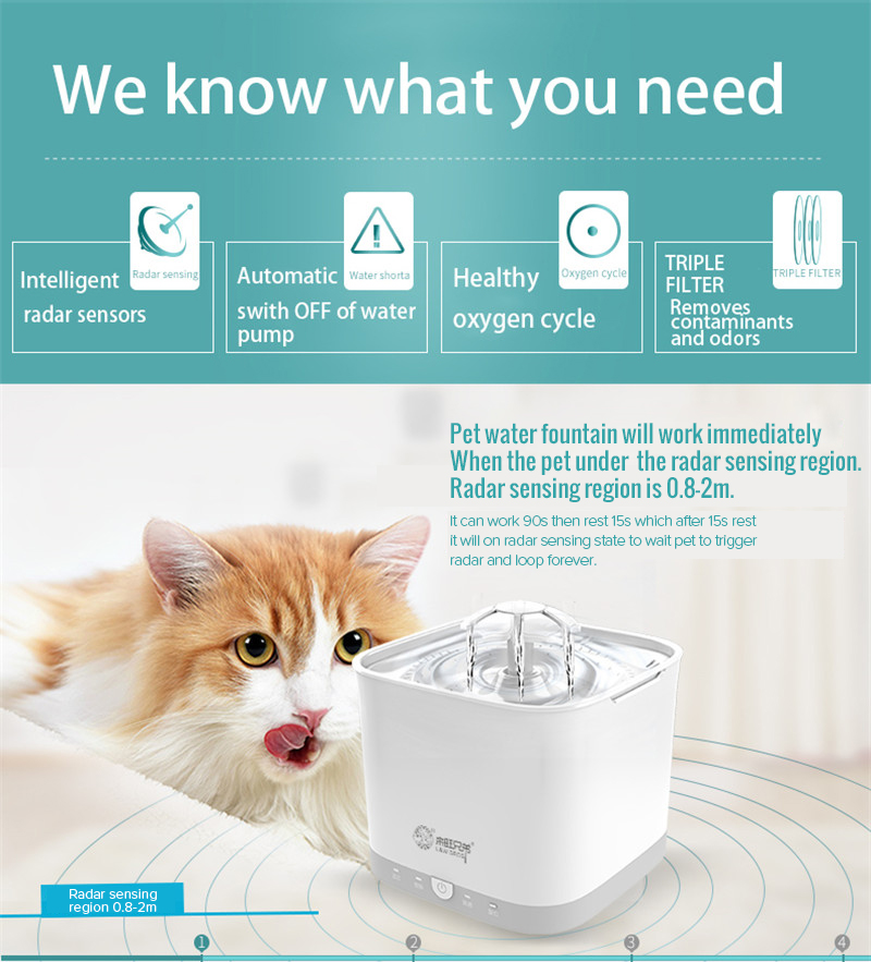 Radar Sensing Cat Water Fountain 2L Electric Pet Fountain Automatic Dog