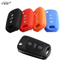 RIN 3Buttons Key Fob Case Silicone Cover For Kia K2 K5 Sportage Sorento SOUL Pro Ceed Cerato With Logo