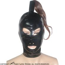 Black Sexy Latex Hoods With Ponytail Tube Without Wigs Zipper Back Open Mouth Eyes Nose Pony Tail Rubber Masks Plus Size TT-0004