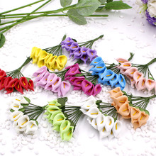 Cheap 12pcs Foam Multi-colored Artificial Flower For Wedding Home Decoration DIY Scrapbooking Decorative Wreath Fake Flowers