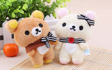 1Pair Kawaii Standing 11CM Lover Rilakkuma Bear Plush Stuffed TOY , Soft Bear Figure DOLL , Key Chain BAG Pendant Charm TOY
