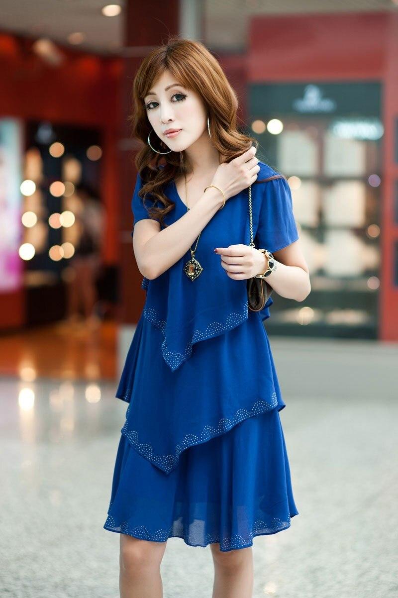 Vestido De Festa Summer Dresses 5XL Plus Size Women Clothing ropa mujer 18 Chiffon Dress Party Short Sleeve Casual Blue Black 11
