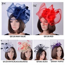 NEW DESIGN Sinamay crin fascinator with feathers for kentucky derby,wedding,church,party,sell in mix styles(China)