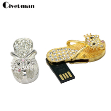 Crystal Diamond Slipper USB Flash 2.0 Memory Stick with hello kitty Necklace usb 4GB 8GB 16GB 32GB 64G Gift Usb Flash Drive
