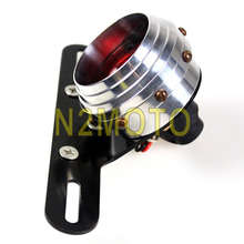 Universal Motorcycle 12V LED Tail Light Red Lens Antique Lamps XS650 Bobber Cafe Racer Custom Mini Bracket(China)