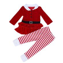 Baby Christmas Dresses Sets 2pcs Baby Girls Boutique Xmas Outfits Dress + Stripe Pants for Children Girls Kids Clothes Set