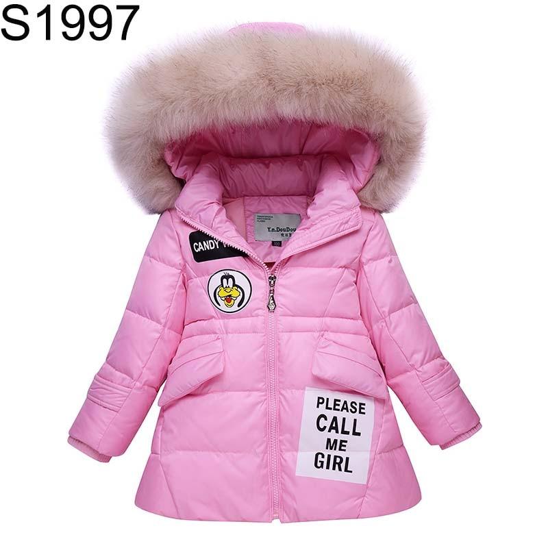 Toddler Girls Winter White Duck Down Jacket Children Warm Clothes Fur Hooded Long Patten Kids Coat Cute Cartoon Parka Outerwear Îäåæäà è àêñåññóàðû<br><br>