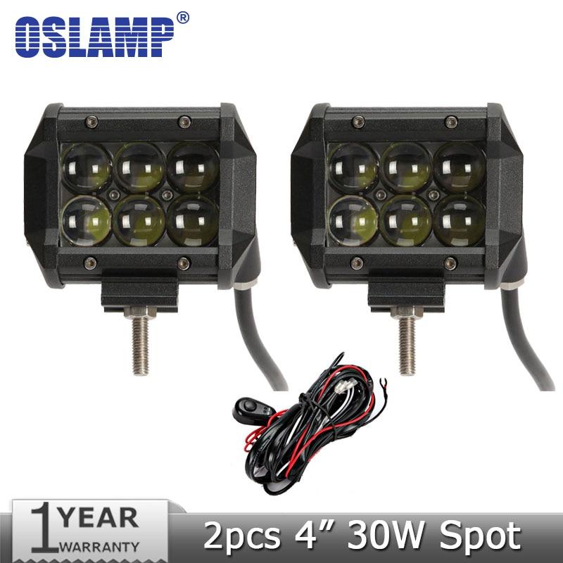Oslamp 30W 4 inch CREE Chips Spot LED Work Light Offroad Light Bar 12v 24v Trucks SUV ATV UTV 4WD 4X4 Driving Lamp Headlight<br><br>Aliexpress