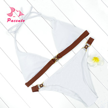 Pacento Sexy Metallic Halter Bikini White Brazilian Solid Swimwear Female Bandage Bathing Suits Two Piece Beach Swimsuit Plavky(China)