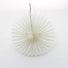 100pcs/lot FreeShipping 8'' (20cm) Pure White Foldable Tissue Paper Fans for Wedding Hanging Decorations