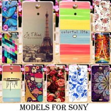 Silicone TPU Painted Plastic Flower Phone Cases For Sony Xperia ZR M36h E4 E2115 E4G E2043 C S39h C2305 SP M35 M35h Covers bags