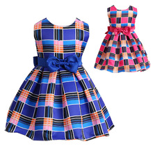 2017 New Summer Girls Brand Dress plaid striped Cotton Dresses For Girls Fever Costume vestidos Kids Frock Designs 1 2 3 4 Years