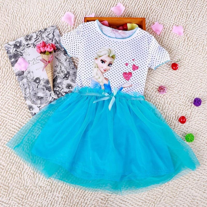 2017 New Girls Dresses Vestidos Elsa Dress Kids Snow Queen Children Clothing Summer Girl Lace Dress Princess Anna Party Dress<br><br>Aliexpress
