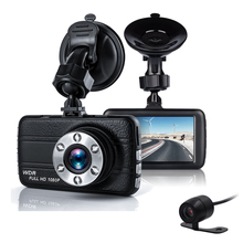 Dual Car Camera DVR 1080P Car Recorder 3 inch 150 Degree 6 Led Dashcam Two lens Dash Cam Dvrs Night Vision Auto Video Dashcam(China)