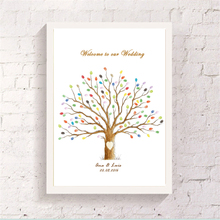 Finger Graffiti Love Tree Guestbook Cute Customized Printed Attendance Signature Canvas Art Drawing for Wedding Wall Decorations(China)