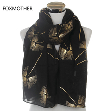Free Shipping 2017 New Fashion Ladies Shiny Black Beige Bronzing Gold Floral Scarf For Womens