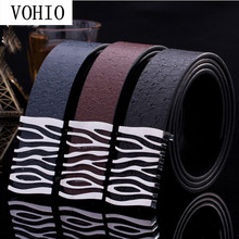 VOHIO New mens belts luxury Stripe shape leather belt men smooth buckle 100% genuine silver buckle Ostrich grain Free shipping
