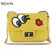 Rdywbu Women's Casual Sequins Crossbody Bags Shiny Eye Small Cross Lock Chain Bags Red Lips Messenger Bags Bolsa Feminina H64(China)