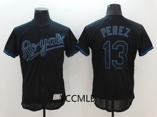 MLB Men's Kansas City Royals Shadow 13 Perez Black Fashion Flex Base Authentic Collection Player Baseball Jersey(China)