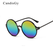 CandisGy Classic Men Round Flat Coating Sunglasses Fashion Male Women Brand Designer Rainbow Color Sun Glasses Summer Dropship(China)