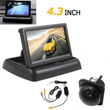 CAR HORIZON 3 in 1 Wireless Car Parking Assistance System 4.3 Folder Car Monitor Night Vision CCD Waterproof RearView Camera