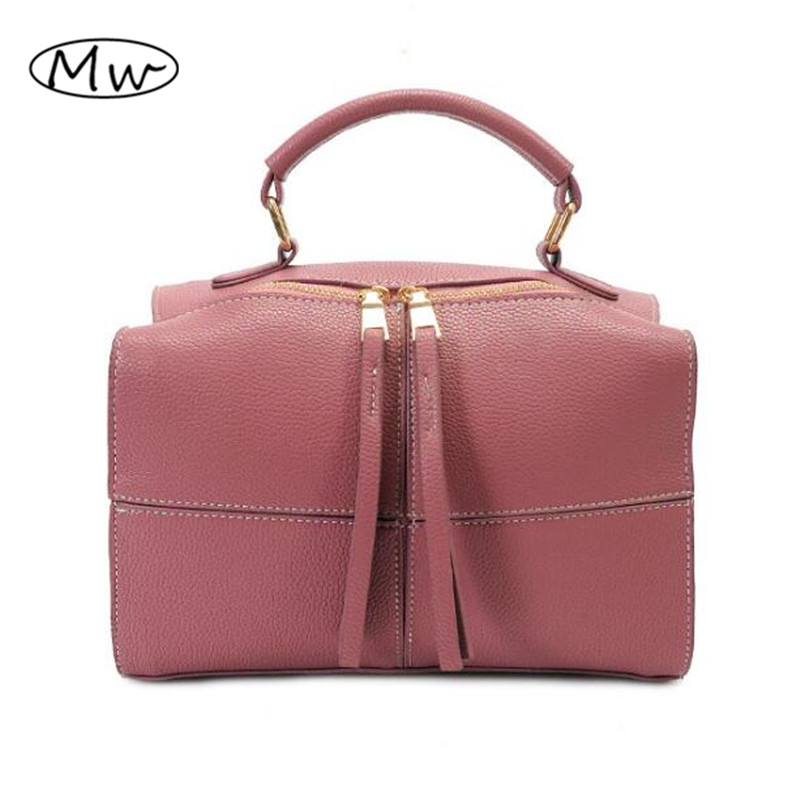 Solid Thread Pillow Bag Small Tote Bag Double Zipper 2017 Fashion Women Leather Handbags Brand DesignerShoulder Messenger Bags<br><br>Aliexpress
