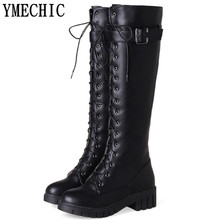 YMECHIC Lady Black Motorcycle Boots Female Buckle Lace Up Cross Tied Gladiator Riding Knee High Long Boots Plus Size Shoes Woman