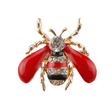 Factory Direct Sale Black or Red Wing Enameled and Crystal Rhinestones Insect Bee Brooch Lapel Pins for Women or Men(China)