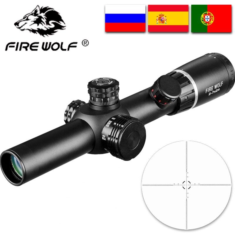 New 2-7X24 Riflescopes Hunting Scope w// Mounts Rifle Scope Outdoor Sports