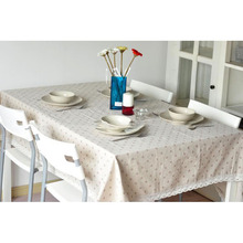 Pastoral Linen Table Cloth White,Red,Coffee Daisy Cherry Table Cloth Dustproof Lace Edge Table Cover Party Tablecloth tafelklees