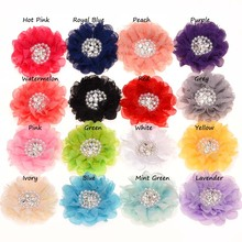 4PCS Pearl rhinestone Center lace flower Rosette Flowers Hair Accessories DIY Flower Bouquet No Hair Clips(China)