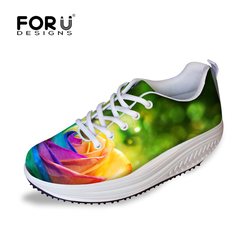 FORUDESIGNS Fashion Floral Pattern Women Casual Slimming Swing Shoes High Quality Flower Wedge Platform Shoes Female Shake Shoes<br>