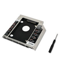 "1pc  Aluminum 9.5mm Second HDD Caddy  SATA 2.5"" SSD Enclosure Hard Disk Drive  for Apple Macbook  A1286 A1297 CD ROM Optical Bay"