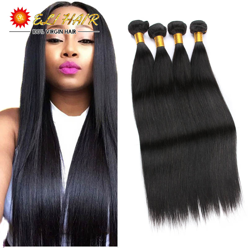 8A Brazilian Virgin Hair Straight With Closure Brazilian Virgin Hair 4 Bundles With Closure Brazilian Straight Hair With Closure<br><br>Aliexpress