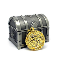 Free Shipping Gold Color Aztec Coin Pendant Necklace The Pirates of The Caribbean + Treasure Chest Metal Box(China)