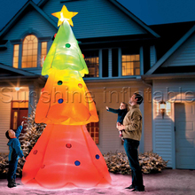 3mH top quality special white inflatable christmas tree with colorful led lights for party decoration