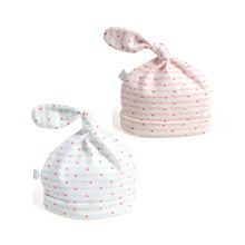 Spring Summer 2 Pcs/lot Organic Cotton Baby Beanie Hat Infant Newborn Knot Cap Love Daddy Mummy Baby Hat(China)
