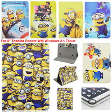 "Lovely Cartoon despicable me yellow minion minions Folio Leather Stand Case Cover For 8"" Toshiba Encore Wt8 Windows 8.1 Tablet"
