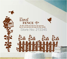 [Fundecor] - Country style home decor wall stickers living room baseboard decals brown fence nest removable 6764(China)