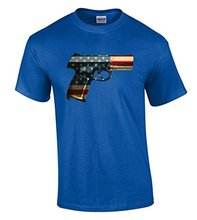 New Style Company Tee Shirts  Gun American Flag T-shirt Patriotic Gun Pring Shirts 100% Cotton Jersey Security T Shirts