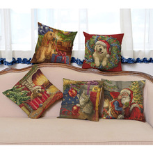 Christmas Decorative Pillows Dog Cosplay Santa Claus 3D Print Celebrition Xmas Gift Sofa Throw Pillows Car Back Cushions 45x45cm(China)