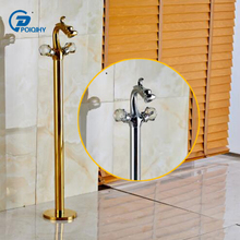 POIQIHY Golden color Brass Floor Mount Bathroom Dragon Faucet Dual Crystal Handle Mixer Tap(China)