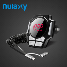 Nulaxy Bluetooth Car FM Transmitter Radio FM Modulator Car MP3 Players Support U Disk TF Car Charger With Cable For ios Android(China)
