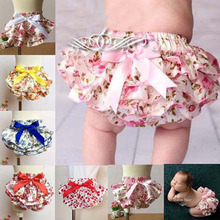 Satin Floral Bloomer Silk Bow Baby Girl Diaper Covered Tutu Ruffled Panties Infant Baby Shorts Culottes Bouffantes de bebe