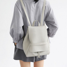 Simple Style Designer Korean Small School Backpack Women Grey And Black Travel PU Leather Ladies Fashion Female Rucksack Bags