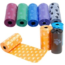 10 rolls=150pcs Degradable Pet Dog Waste Poop Bag With Paw Printing Doggy Bag Shit picking bags random colors on sale